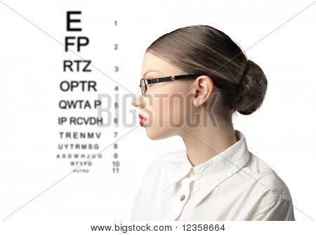 Profile of a woman wearing glasses with ophthalmic table on the background
