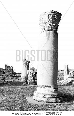 And The Roman Temple History Pamukkale    Old Construction In Asia Turkey The Column