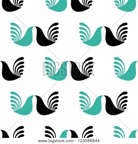 Vector seamless pattern. Abstract ethnic pattern. Geometric birds patternTextile birds pattern. Cocks pattern. Monochrome fabric birds pattern. Simple pattern for textile, wrapping paper