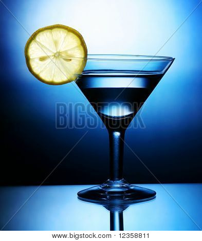 martini; objects on blue background