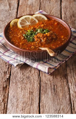 Thick Moroccan Soup In A Bowl On The Table. Vertical