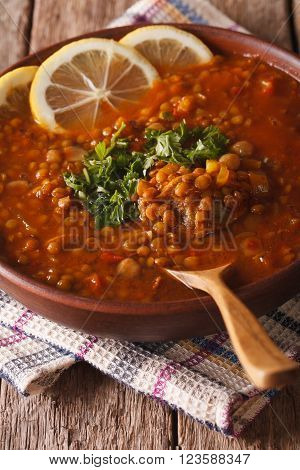Arabic Cuisine: Harira Soup In A Bowl Close-up. Vertical