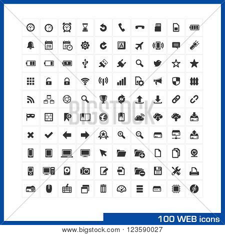 Web icons set. Vector pictograms for web, internet, mobile and computer interface design. battery, bookmarks, phone, clock, devices, social communications and settings symbols.