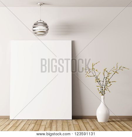 Interior of room with poster lamp and flower vase background 3d rendering