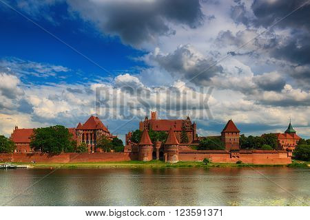 Teutonic Knights in Malbork castle in summer. World Heritage List UNESCO. HDR-high dynamic range
