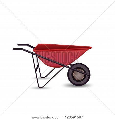 Icon garden wheelbarrow isolated on a white background. Icon red garden wheelbarrows in the cartoon style. Red garden cart. Vector illustration.
