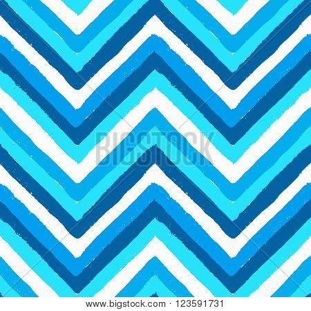 Vector Chevron Seamless Pattern. Painted background, zigzag brush strokes composition. White and blue vector chevron pattern. Painted texture vector.
