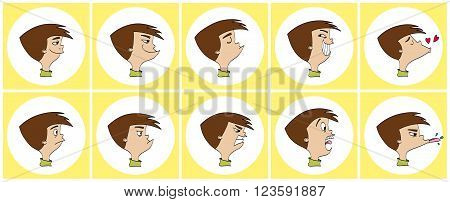 Cartoon of various face expressions vector illustration