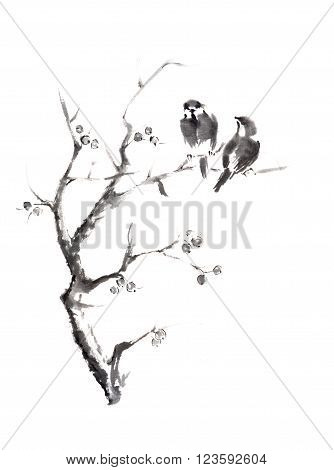Tow birds on a tree Japanese style original sumi-e ink painting. Great for greeting cards or texture design.