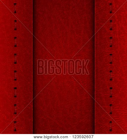Realistic vector maroon leather diary texture and stitches. Vector Illustration. EPS 10.