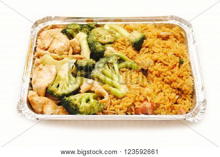 Chinese (American) Chicken & Broccoli with Pork Fried Rice