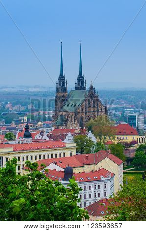 View to the red roofs of  Brno city with cathedral, Czech Republic ** Note: Visible grain at 100%, best at smaller sizes