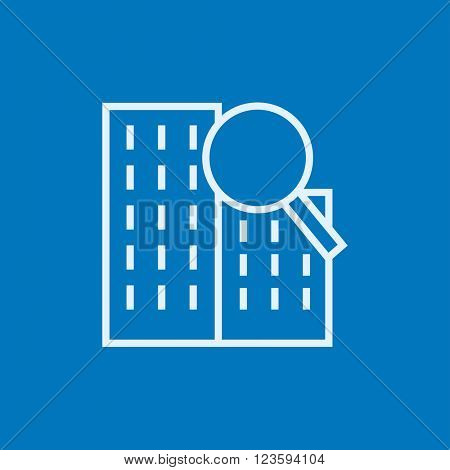 Condominium and magnifying glass line icon.