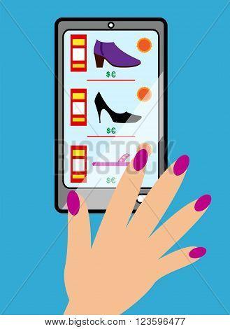 E-commerce online shoe shopping on phone illustration