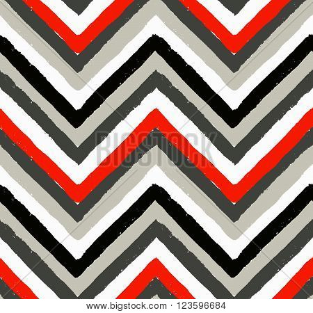 Vector Chevron Seamless Pattern. Painted background, zigzag brush strokes composition. White, black, grey and red vector chevron pattern. Painted texture vector.