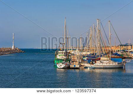 Yachts on marina in Ashqelon - coastal city on Mediterranean sea in Israel.