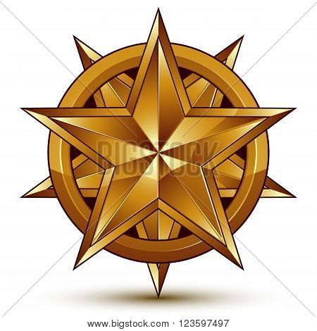 Heraldic 3D Glossy Icon Can Be Used In Web And Graphic Design, Five-pointed Golden Star, Clear Eps 8