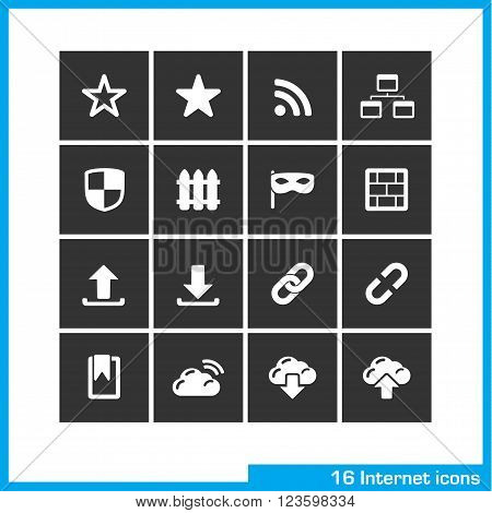 Internet icon set. Vector black pictograms for social web and mobile app, interface design. bookmark star, RSS, sitemap, network, link, download and upload symbol
