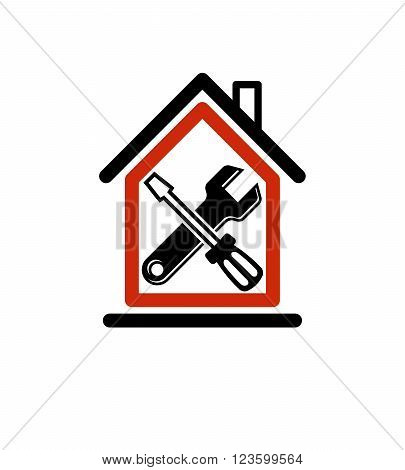 Spanner and screwdriver crossed industrial theme workshop vector symbol. Simple house with work tools home reconstruction idea.