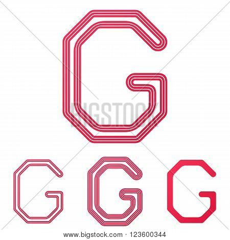 Crimson line letter g logo design set