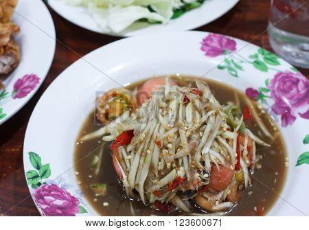 Thai food Papaya salad thai or SOM TUM