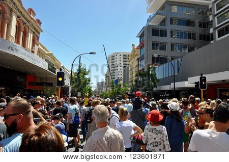 PERTH,WA,AUSTRALIA-FEBRUARY 14,2015: Thick crowds of people during the Journey of the Giants arts festival in Perth, Western Australia.