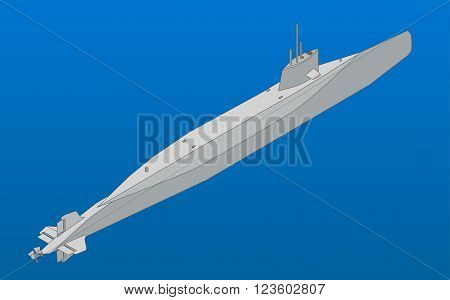 Submarine isometric flat vector illustration. Colorful underwater nuclear submarine vector pictogram.  Military naval submarine.