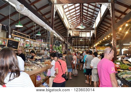 FREMANTLE,WA,AUSTRALIA-FEBRUARY 21,2015: Crowds of people at the historic Fremantle Markets in Fremantle, Western Australia.