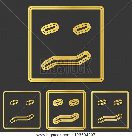 Golden line fear symbol logo design set
