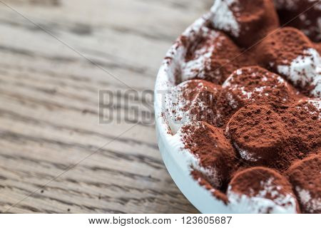 Portion Of Roasted Marshmallows With Cocoa Powder