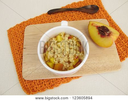 Crumble mug cake with peach from microwave