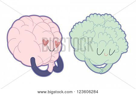 Love to broccoli flat cartoon vector illustration - a brain falling in love with broccoli girl. Part of a Brain collection.