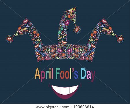 April Fool's Day.Vector background.Vector illustration with jester hat