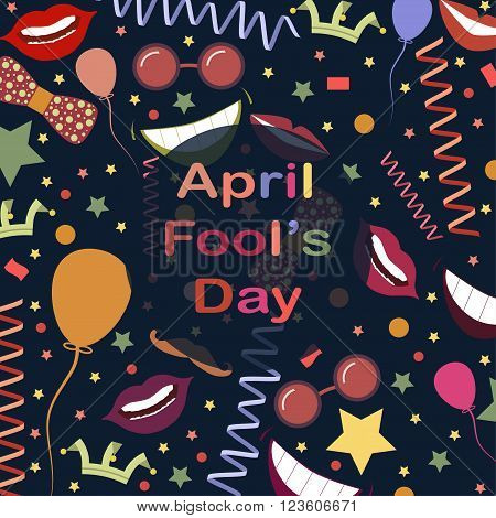 April Fool's Day.Funny background with lips and ribbons