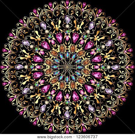 illustration background with a circular gold ornaments with precious stones