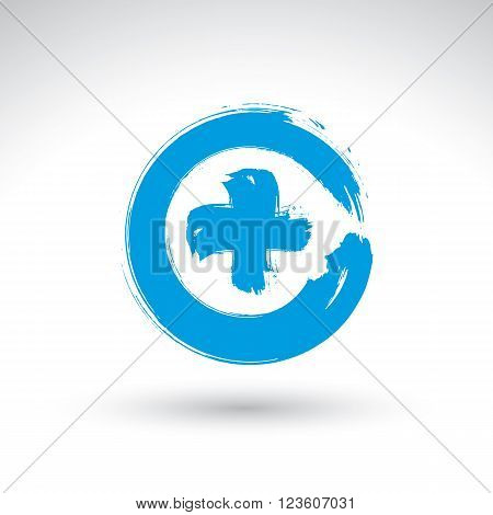 Hand drawn validation icon scanned and vectorized brush drawing plus sign hand-painted navigation symbol isolated on white background.