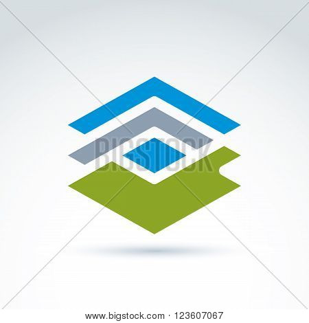 Abstract geometric figure lines and rhomb. Vector colorful complex stencil symbol. Green checkmark.