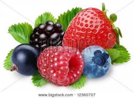 Handful of berries on a white background