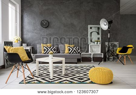 Grey Living Room With Yellow Details