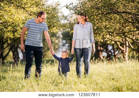 Mother and father holding hands of their little daughter making first steps outside in green sunny nature
