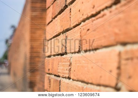 Side of the brick wall stock photo