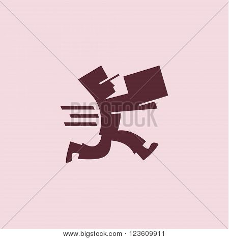 Running man with a box in the cap at a rate in the dynamics of delivering a parcel to the customer, minimalist illustrations art
