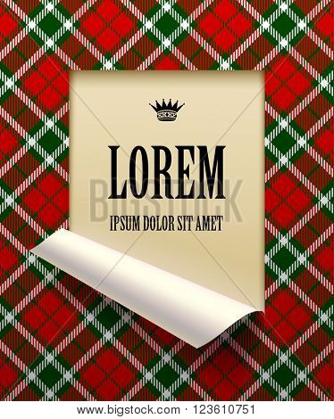 Paper sheet cut framed and partially rolled up with tartan background. The lower background is on separate layers by easy change to another. Vector illustration