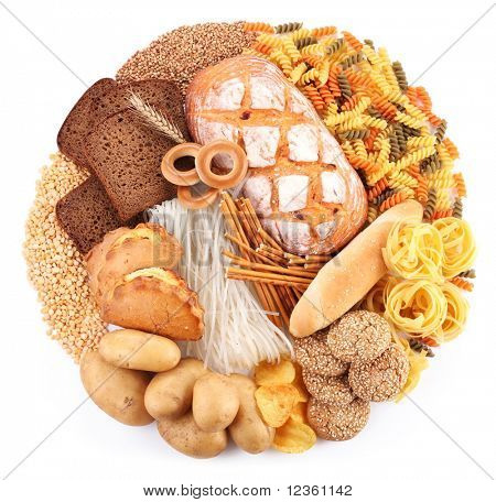 Bread and bakery products in the form of a circle. Isolated on white background.