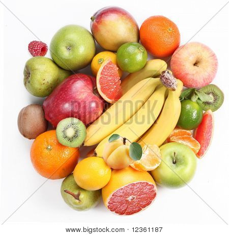 With fruit in the form of a circle. Isolated on white background