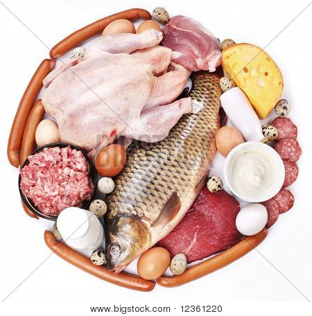 Meat and dairy products in the form of a circle. Isolated on white background.