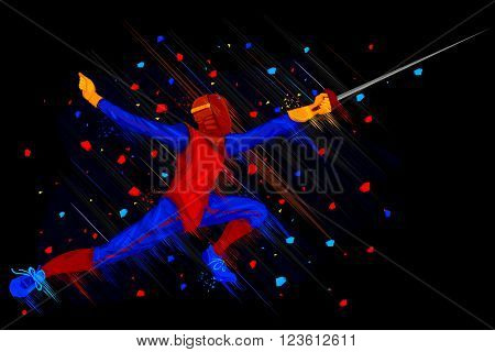 easy to edit vector illustration of fencer attacking with Foil