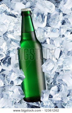 Bottle of beer on ice