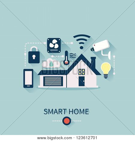 Vector concept of smart house technology system with centralized control. Smart Home Infographic elements.