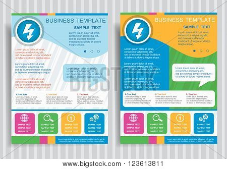 Lightning Icon On Vector Brochure Flyer Design Layout Template